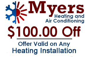 Myers Heating and Air Conditioning - $100.00 Off, Offer Valid on Any HEATING Installation Expires March 2016